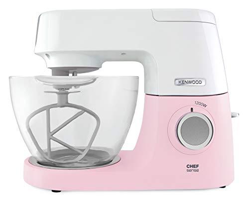 Kenwood Chef Sense KVC5100P - Küchenmaschine, 4,6 l Glas-Rührschüssel, Easy-Lift & Interlock-Sicherheitssystem, 1200 W, inkl. 3-teiligem Patisserie-Set & Rezeptbuch, pink