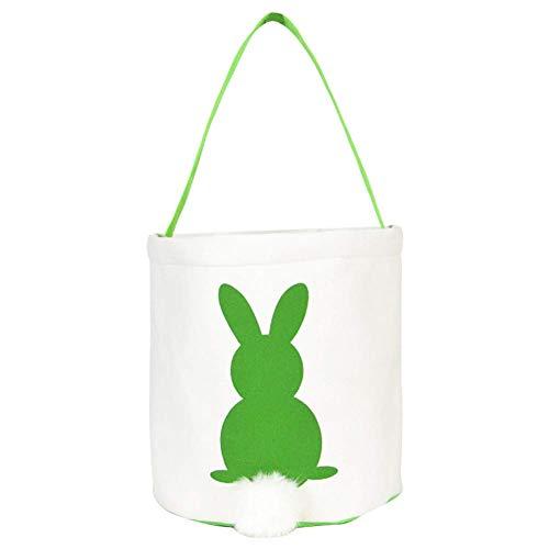 nakw88 Handtasche Kinder Schwanz Geschenk Hase Wiederverwendbar Party Zubehör Dekoration Bunny Einkaufstasche Candy Ostern Leinen Korb Lila - Grün, Free Size