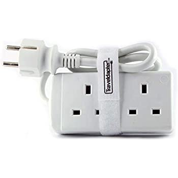 Travel Adapter TAJIKISTAN Power Plug Strip Multi Safe Extension Lead 2 Inputs Ultra Compact Cord for International Vacation 2 Pin Grounded Type F plug 2 type G Sockets 1.0 m White