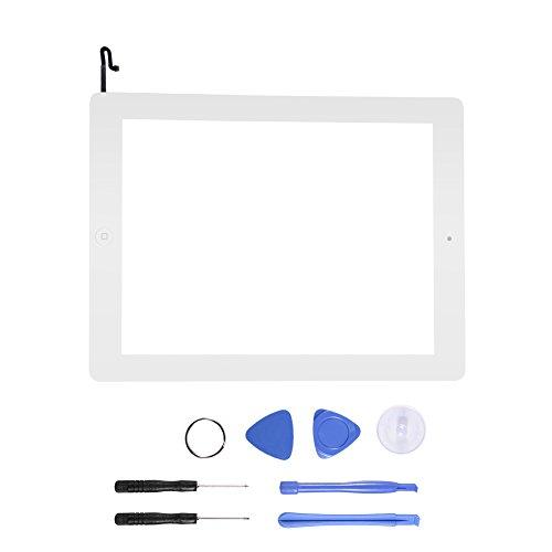ASHATA Komplett Touch Screen Digitizer für iPad 4, Digitizer Display GlasTouchscreen Ersatzteil Home Button + Kamera Halterung + Werkzeugset Kit für ipad 4 A1458 A1459 A1460(Weiß) (Ipad 4 Digitizer)