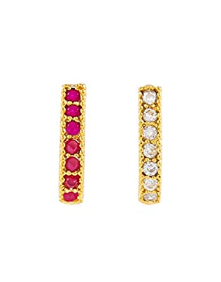 Anuradha Art Gold Finish Saniya Styled Studs Nose Pin Combo Set for Women/Girls