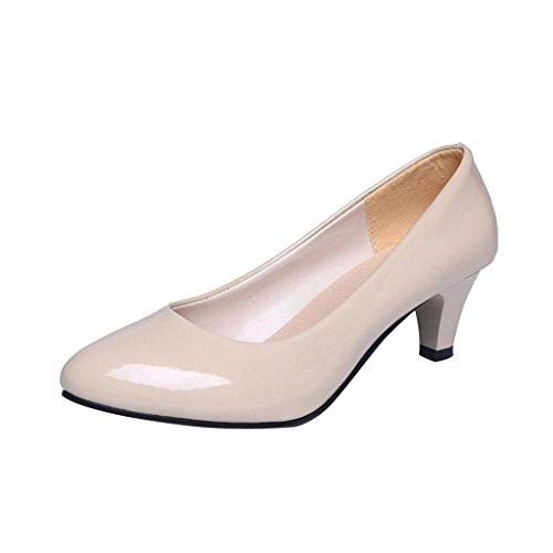 QinMM Zapatos Tacón Alto Tacones Elegante Fiesta y Boda Noche para Mujer (40, Beige)