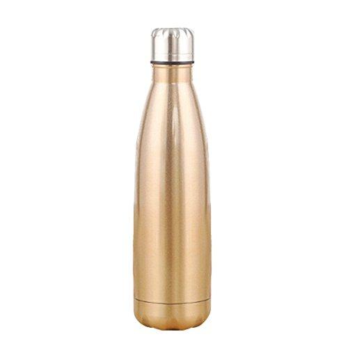 Kingnew Isolierte Edelstahl Wasser Vakuumflasche Wasserflasche Isolierflasche für Laufen, Gym, Yoga, Radfahren, Wandern, Yoga, Outdoor und Camping, Auto (Champagne Gold, 1L) -