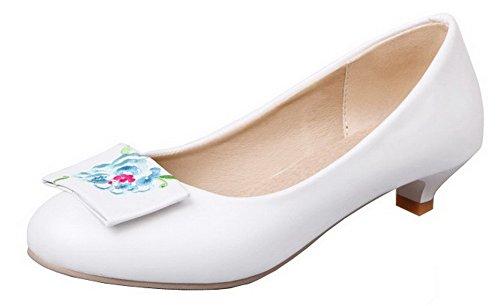VogueZone009 Femme PU Cuir Brodé Tire Rond à Talon Bas Chaussures Légeres Blanc