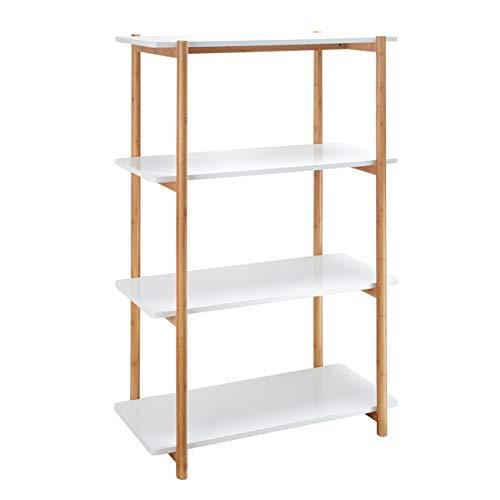 ZRI Bamboo Regal Standregal Wandregal Bücherregal mit 4 Ablagen - Allzweckregal Holz 80x36,5x116cm für Büro Küche Wohnzimmer, Weiß (Weiss, 116cm)