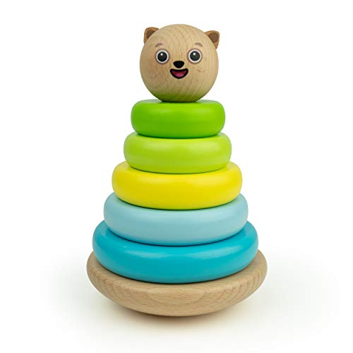 Bimi Boo Pyramide bunter Stapelturm, Stehaufmännchen aus Holz, Baby Spielzeug, Steckspiel ab 2 Jahren