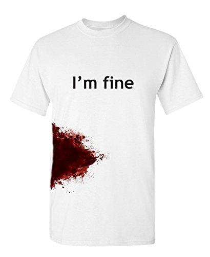 Gift Tshirt (scope I'M FINE Funny Slash Movie Gag Gift Injury Blood Very Funny T Shirt)