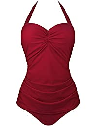 Angerella Vintage 50s Pin Up scollato Costume da bagno Costume intero (EU 36-38=Tag Size L, Vino Rosso)