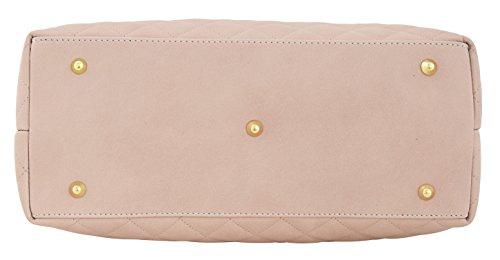 CHIC Borsa a Mano Spalla Donna Vera Pelle Made in Italy Lavorazione Artigianale Rosa chiaro