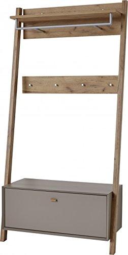 Kompaktgarderobe Aria Garderobe Dielenmöbel Schuhschrank Spiegel Grau Eiche