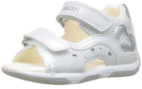 Geox B Tapuz Girl C, Sandali Bimba, Bianco (White/Silver C0007), 23 EU