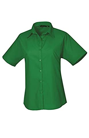 Premier Ladies Short Sleeve Poplin Blouse Emerald 16
