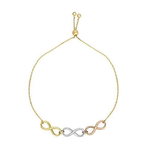 "Luxurman Friendship 14K Tri-Color Gold 5.7mm Shiny Diamond Cut Fancy Adjustable Infinity Bracelet 9.25"""