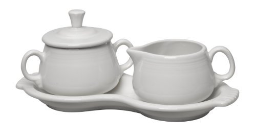 Fiesta Covered Creamer and Sugar Set with Tray, White by Homer Laughlin Creamer Tray Set