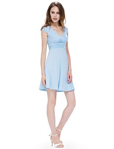 Ever Pretty Robe d'ete Courte Casual en V-col 05293 Azur