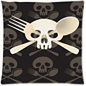 Custom Fashion Skull and Fork Zippered Throw Pillow Cover Cushion Case 18x18 (Twin sides)