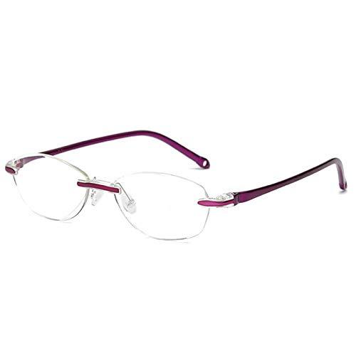YANSHG® Anti-Blaulicht-Lesebrille - Modisch rahmenlose Blendschutzbrille mit Tragetasche +1.0,+1.5,+2.0,+2.5,+3.0,+3.5