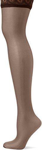 Pretty Polly Damen Nylons 10d Gloss Lace Hold Up Strumpfhose, 10 DEN, Schwarz (Blk Barely Black), Medium (Herstellergröße: ML) -
