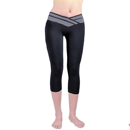 Vertvie Femme Leggings de sport Pantalons Capri Collant Élastique Taille Épissage pour Fitness Jogging Yoga Gym 3/4 Longueur Noir+Gris