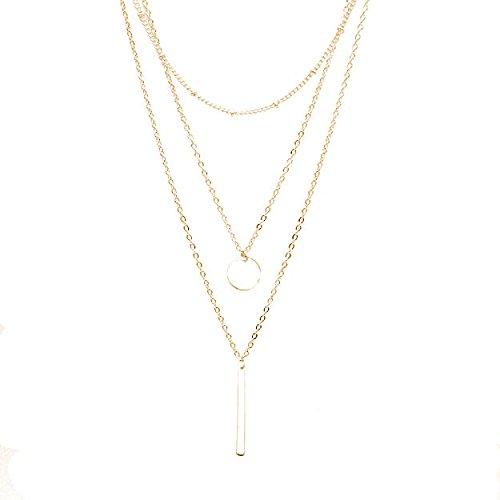 Zodiaca Halskette Damen Modeschmuck, Halskette Choker Mehrreihig Kette mit Anhänger, Geburtstag Geschenk für Frauen Mädchen Mutter Freundin (Gold)