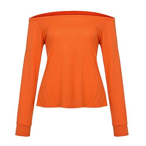 KPILP Femme T-Shirts et Tops de Sport Femme 2019 Printemps et été La Mode Les Loisirs Couleur Unie Femme Sexy T-Shirts à Manches Courtes (Orange,FR-50/CN-XL)