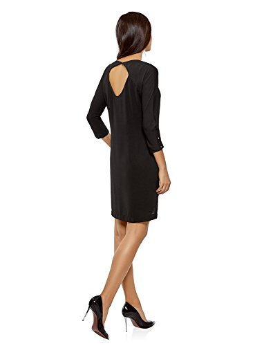 oodji Collection Donna Abito Scollato Dietro con Maniche a 3/5 Nero (2900N)