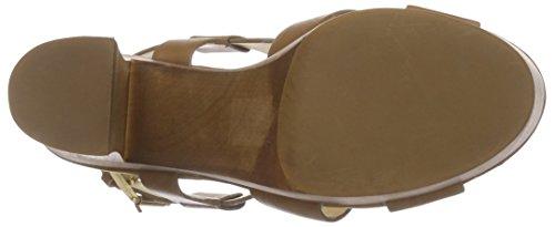 Buffalo London 315-3168-1 Paul Crust Leather Damen Plateau Sandalen mit Blockabsatz Braun (Camel)