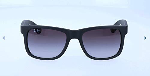 RAYBAN Unisex Sonnenbrille Justin, (Gestell: Schwarz, Gläser: Grau Verlauf 601/8G), Medium (Herstellergröße: 51)