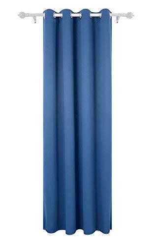 Deconovo Tenda Oscurante Termica Isolante con Occhielli 100{f43cb07aa0e69bb4833f37903edbf371905902c4311e15fee866ff376caef84b} Poliestere per Camera da Letto 140x260 CM Un Pannello Blu Acciaio