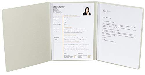 Exacompta 49204B Bewerbungsmappe Prestige (3-teilig mit 2 Klemmschienen Kapazität 30 Blatt aus Manila-Leinen-Karton, 400 g, DIN A4, 21 x 29,7 cm) elfenbein (Fotoalbum Elfenbein)