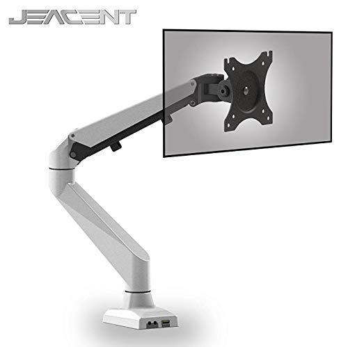 Jeacent Aluminium-Monitor-Halterung, Gasfeder, drehbar, Computerarm, strapazierfähig, passend für 43,2 cm bis 68,6 cm, 4,6 kg Ipad Dual-arm