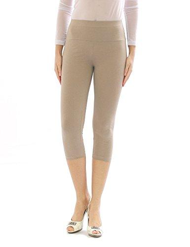 Damen Capri 3/4 Leggings Leggins Baumwolle Hose Wäsche hoher Bund beige XL