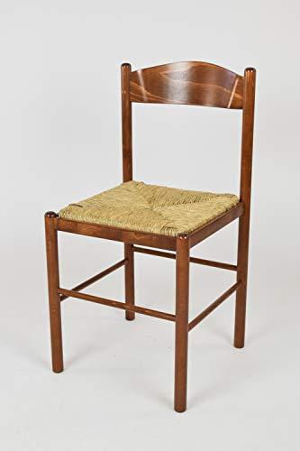 Tommychairs - set 1 sedia classica pisa 38 per cucina, bar e sala da pranzo, con robusta struttura in legno di faggio verniciato color noce chiaro e seduta in paglia vera