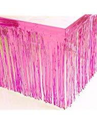Blukey 73,7 x 274,3 cm Metallic Folie Fransen Tischrock Banner Lametta Tischdecke für jeden Anlass, rose, 29x108-Inch