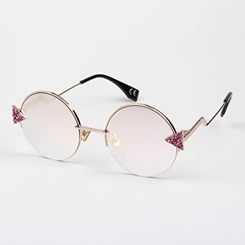 YLNJYJ Sonnenbrillen Sonnenbrille Frauen Dreieck Bling Steine   Runde Brille Mich Metallrahmen Rosa Sonnenbrillen Für Frauen Dreieck