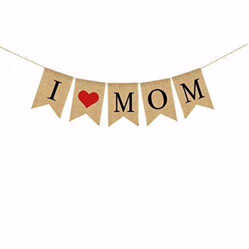 (BESTOYARD Liebe Mama Muttertag Jute Banner Hängende Flagge Girlanden Zum Muttertag Mutter Geburtstag 2M zu dekorieren)