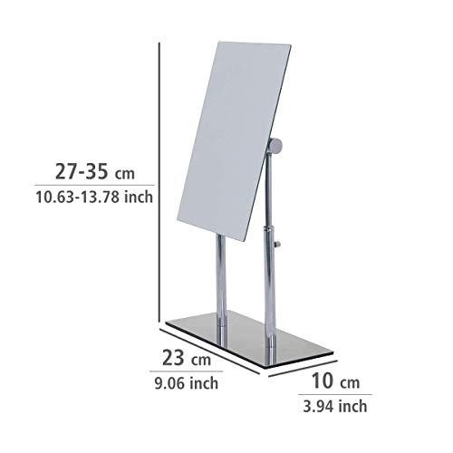 WENKO 3656420100 Kosmetik-Standspiegel Pinerolo – klappbar, Stahl, 23 x 27-35 x 10 cm, Chrom - 3