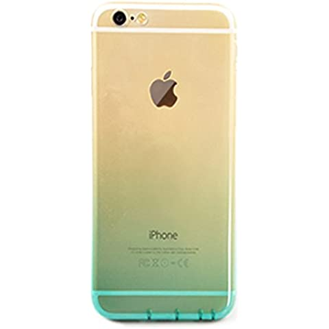 dfifan® iPhone 6 plus Funda colorful transparente Shell Slim Case translúcido resistente al impacto flexible Soft TPU Carcasa Protectora Trasparent transparente cambia de color carcasa para Apple iPhone 6s plus, plástico, verde,