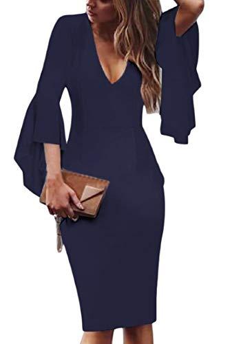 Andopa Damen plus-size slim mit tiefem v-ausschnitt trumpet sleeve bleistift-kleid 4XL Marineblau -