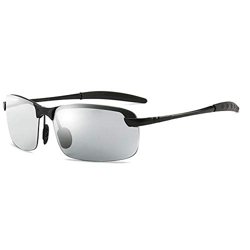 GXM-FR Sonnenbrillen, Smart Photochromic Polarized Goggles für Herren, 100% UV-Schutz für den Außenbereich, Entblendung, Verringerung der Ermüdungserscheinungen der Augen,Black