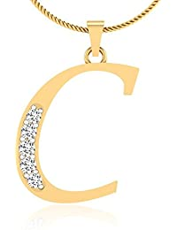 IskiUski Alphabetical C 14Kt Diamond Yellow Gold Pendant Yellow Gold Plated For Women