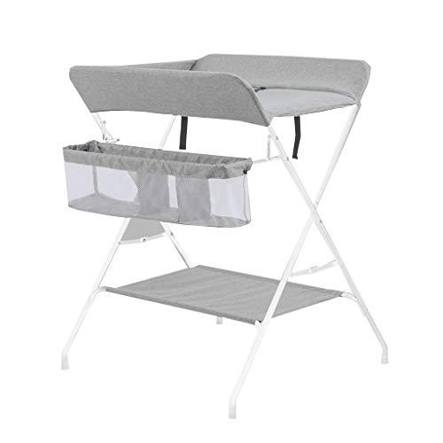 Table À Langer Unité De Rangement pour Bébé Pliable Station Bureau Dresser Jambe Croisée Portable Style-74cm (L) X 70cm (L) X 96cm (H) (Couleur : Gray)