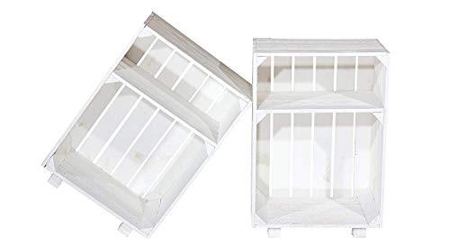 Vinterior 2er Set weiße Obstkiste für Nachttisch, weiße Massive Weinkiste mit Zwischenboden und Füßen, weiße Holzkiste als Beistelltisch+++54cm 40cm x 30,5cm (LxBxH)