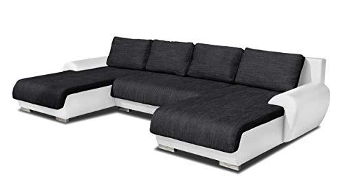 Wohnlandschaft Eckcouch Ecksofa Otis - Big Sofa, Couch mit Schlaffunktion und Bettkasten, U-Sofa, U-Form (Weiß + Schwarz (Madryt 120 + Berlin 02)) (Big Sofa)
