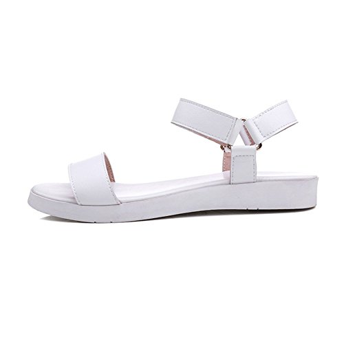 Adee Mesdames Velcro Sandales en cuir robuste Blanc - blanc