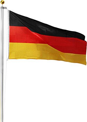 Aluminium Fahnenmast inkl. Deutschland Fahne + Bodenhülse + Zugseil - in verschiedenen Höhen wählbar Farbe Germany Größe 6.50 Meter
