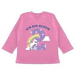 Geburtstag Baby - Ich Bin Schon 2 Einhorn - 18/24 Monate - Pink - BZ11 - Baby T-Shirt Langarm