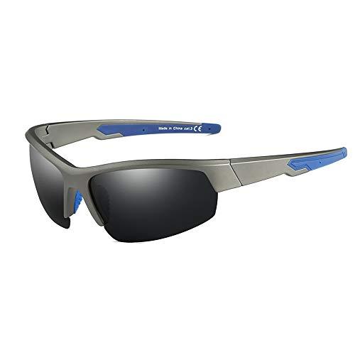 JIM HALO Radfahren im Freien Sport Sonnenbrille Halb Randlos TR Tempel Brillen für Baseball Angeln Laufen Golf Fahren(Grau/Polarisiertes Grau)