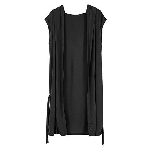 Chouette Robes Peignoir Hommes à Capuche Bain Plus Size Pyjamas Sexy Grande Taille (FR40-46, Noir)