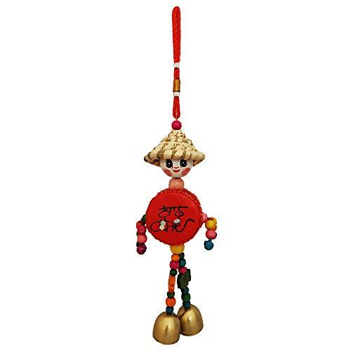 Divya Mantra Decorative Wooden Smiley Man with Metal Bells Car...